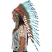 long native american headdress replica with turquoise duck feathers