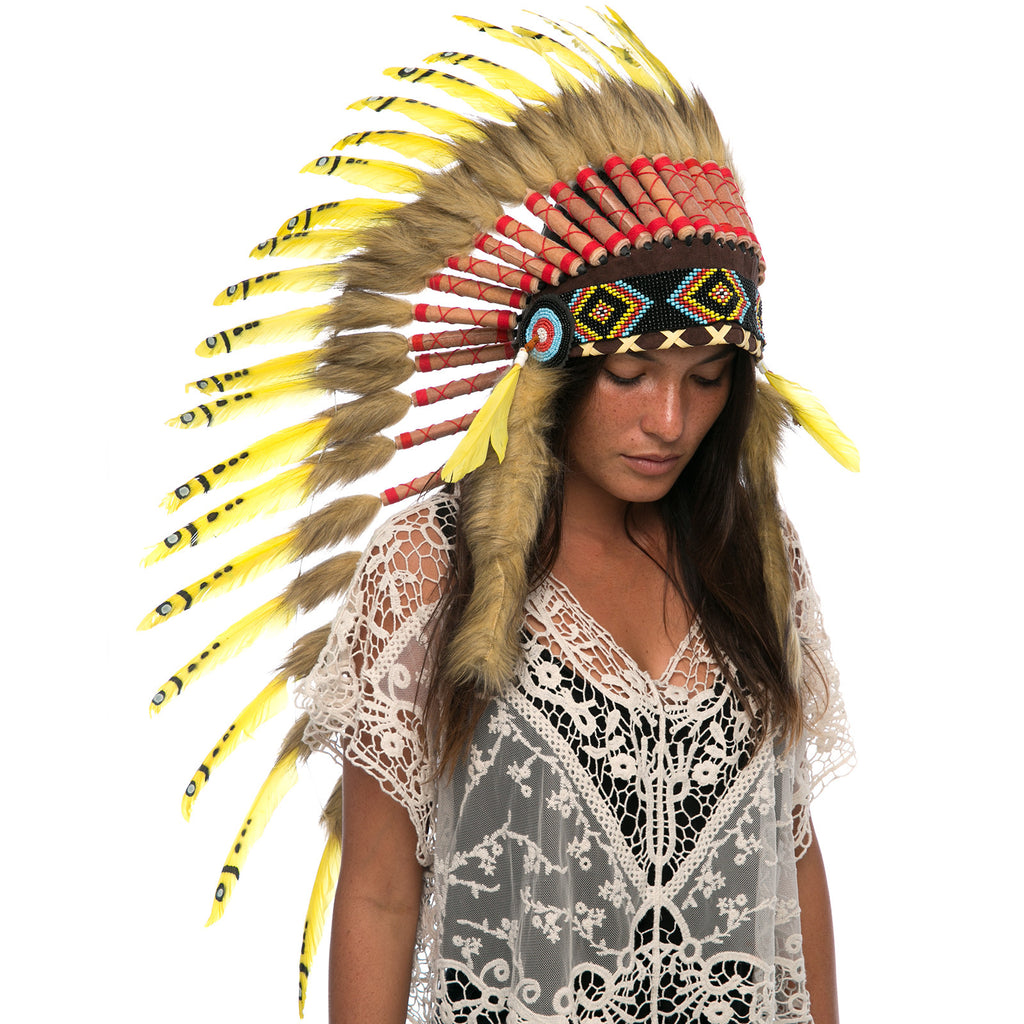 Long native american headdress replica with yellow duck feathers