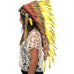 Long Indian headdress replica with yellow duck feathers