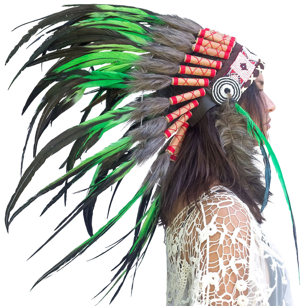 Indian Headdress Replica - Green Rooster - CLEARANCE!