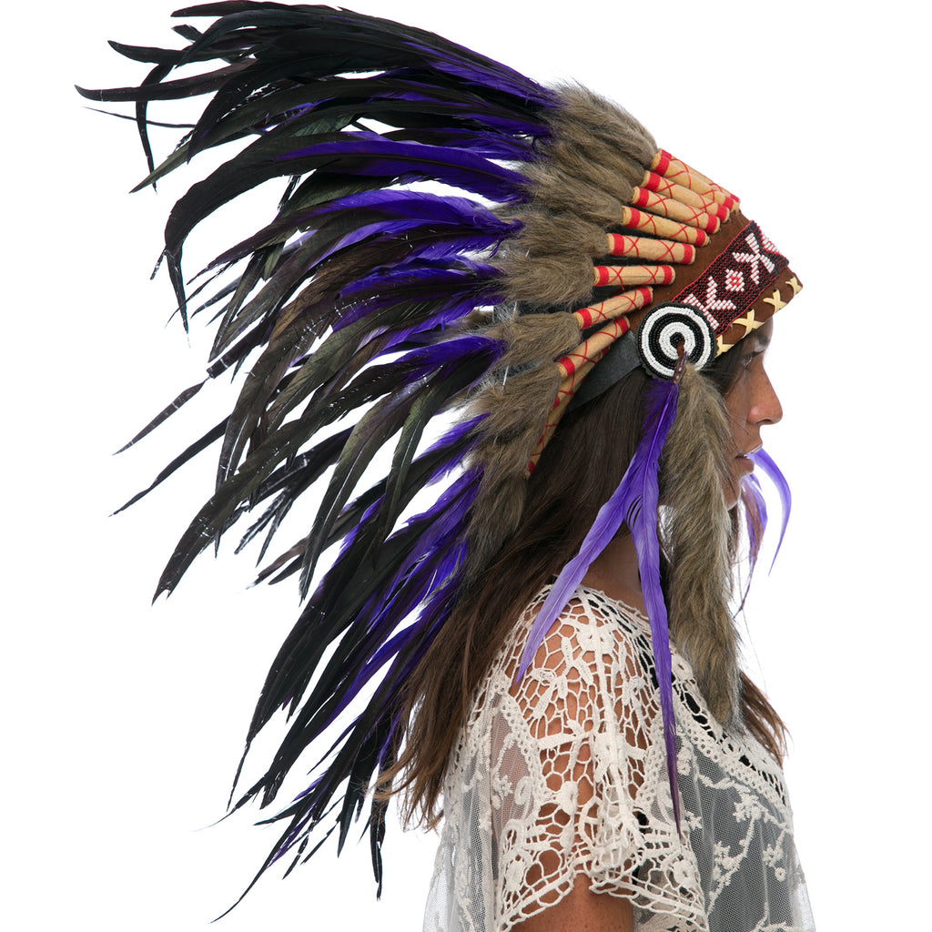 Feather Headdress- Native American Indian Style - Purple Rooster