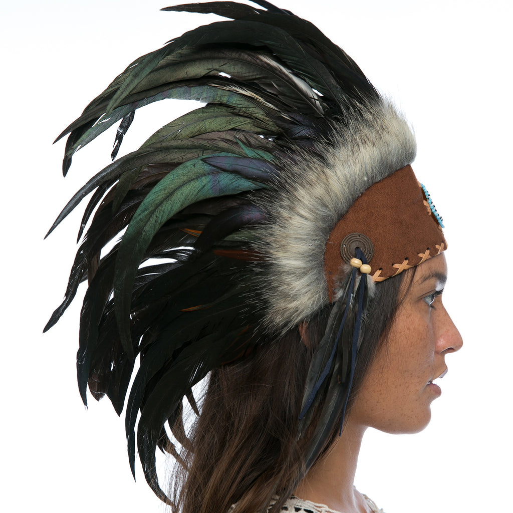 Indian Inspired Headdress - Black with Beads