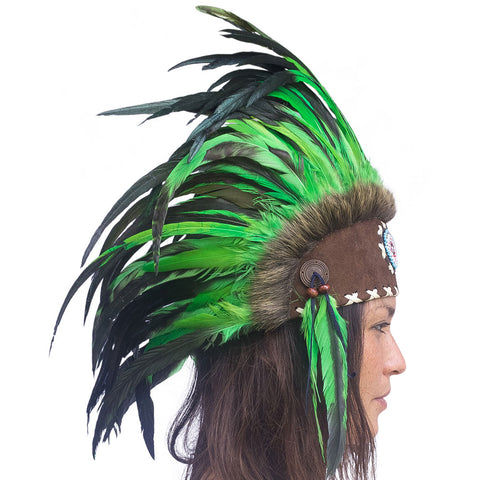 Indian Inspired Headdress - Green with Beads
