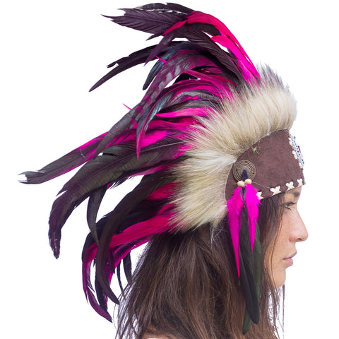 Indian Inspired Headdress - Pink with Beads