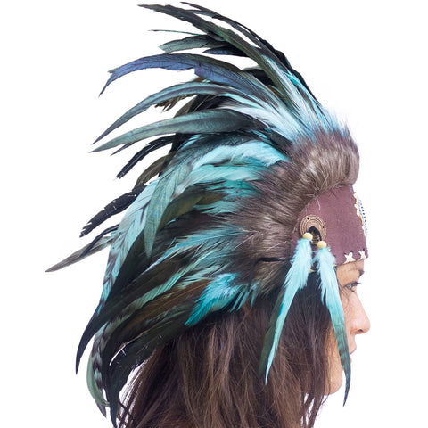 Indian Inspired Headdress - Turquoise with Beads