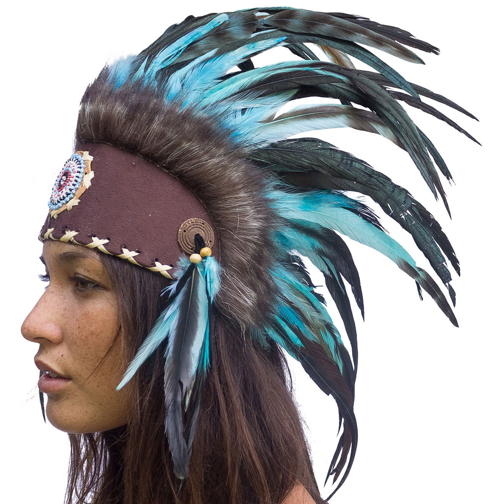 Native American Inspired Mini Feather Headdress Aqua with beads ADJUSTABLE