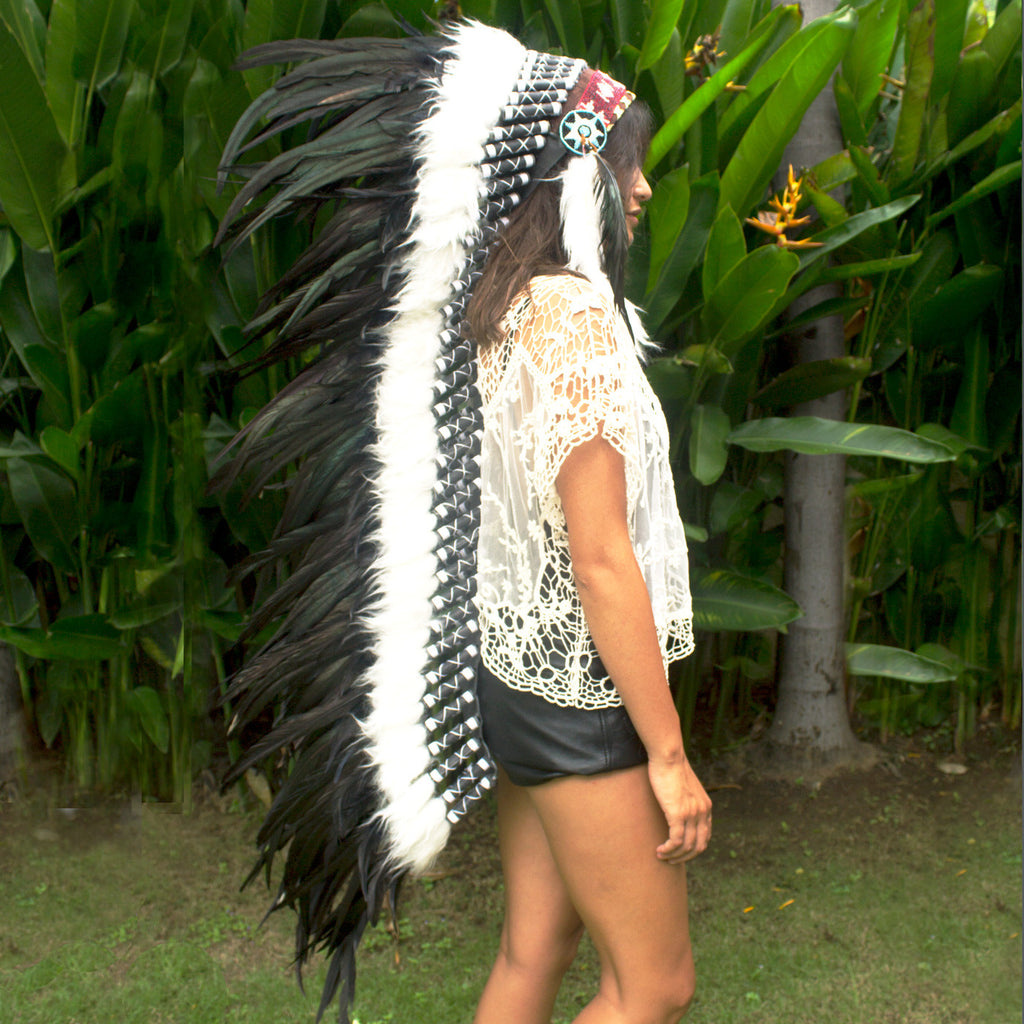 Extra Long Indian Headdress Replica with black rooster feathers
