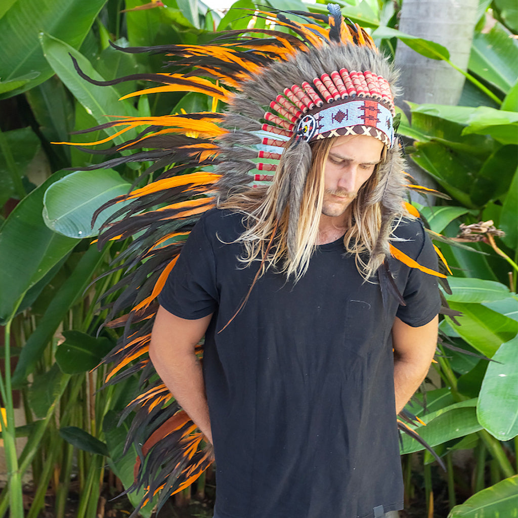 Extra Long Indian Headdress Replica with Orange Rooster Feathers