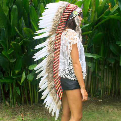 chief headdress, extra long classic white