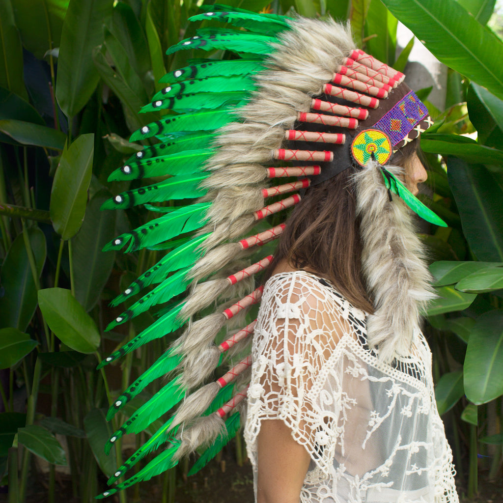 Long Indian headdress replica with green duck feathers