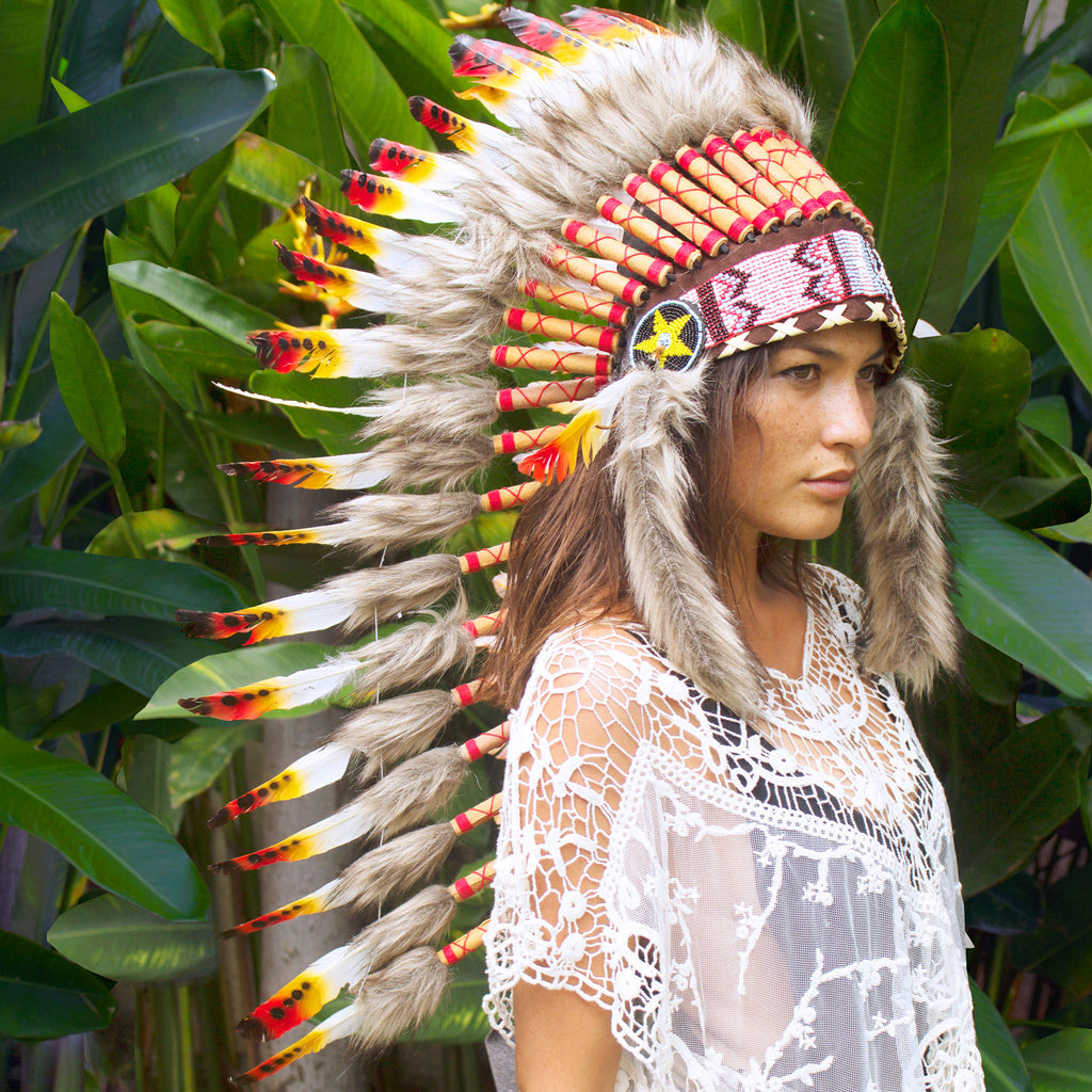 Long Indian headdress replica with multicolor duck feathers