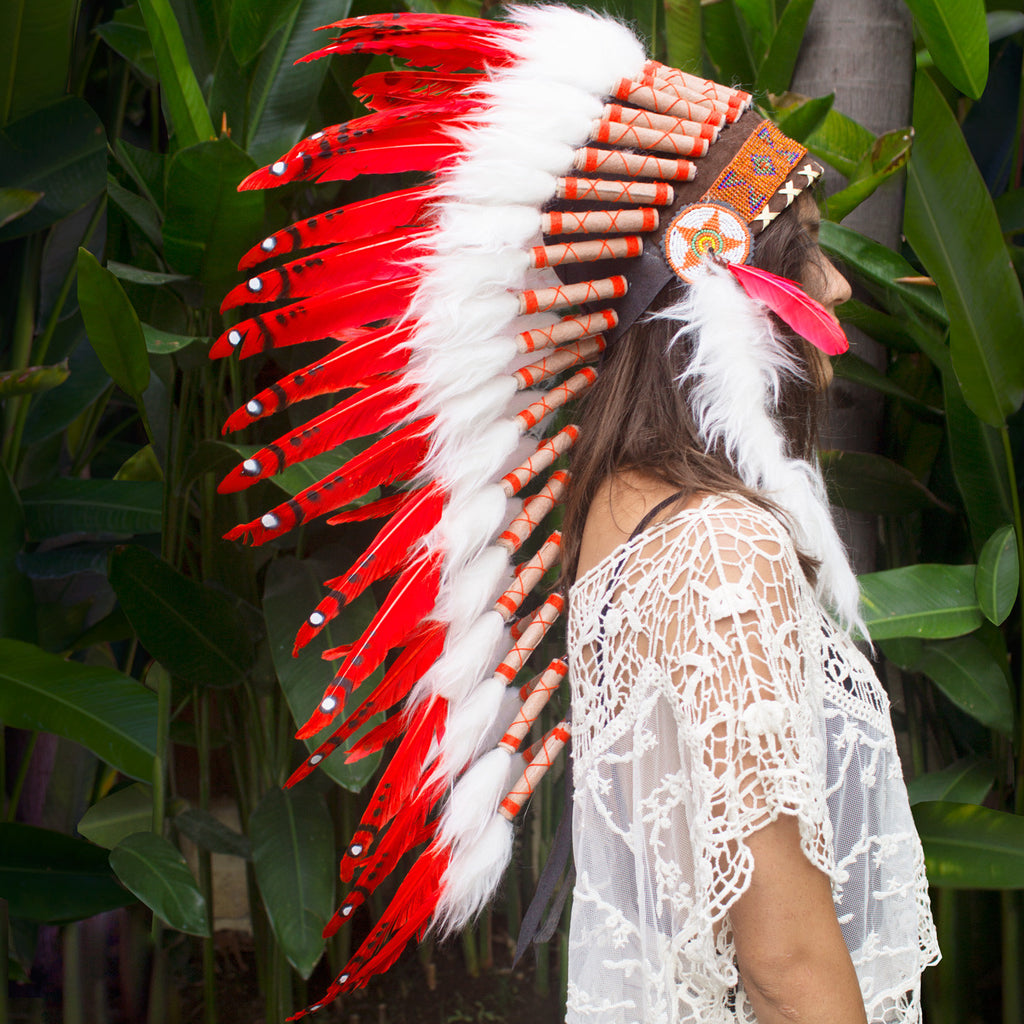 Long red native american headdress replica with duck feathers