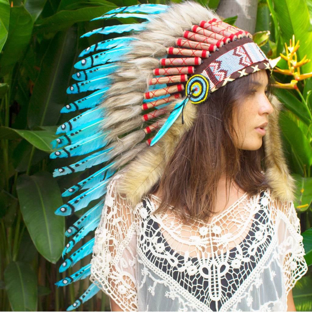 long turquoise native american style headdress