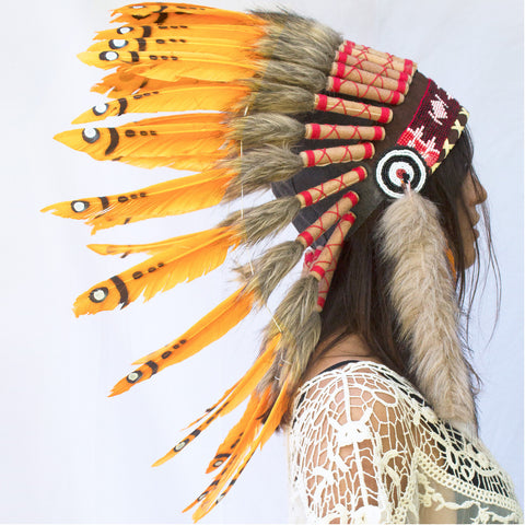 Orange Duck Feather Headdress