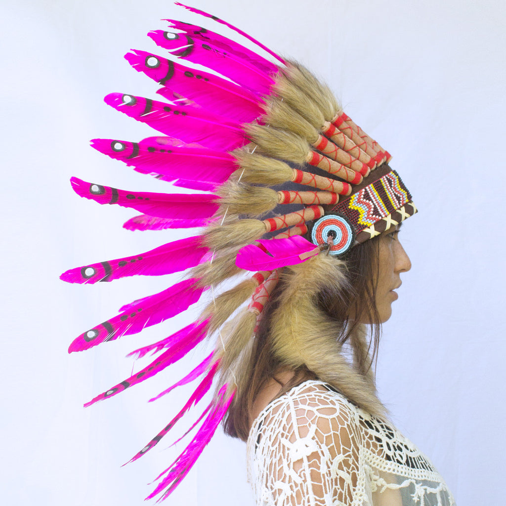 Pink Duck Feather Headdress