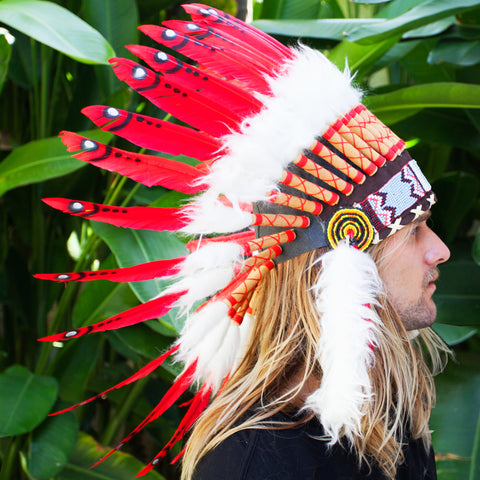 Red Duck Feather Headdress