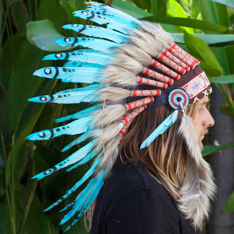 Turquoise Duck Feather Chief Headdress