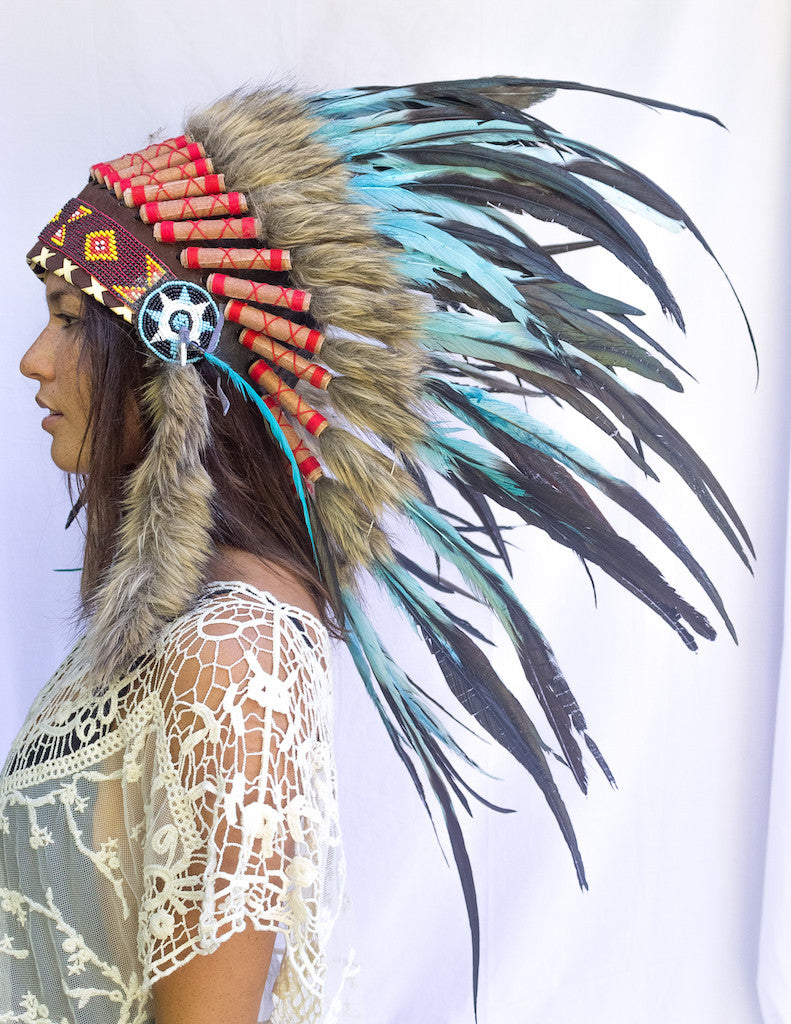 ... light third photo of a girl wearing a short turquoise indian headdress with beads leather ...  sc 1 st  The Sounding Iron & Native American Headdress Replica - Turquoise Rooster u2013 The Sounding ...