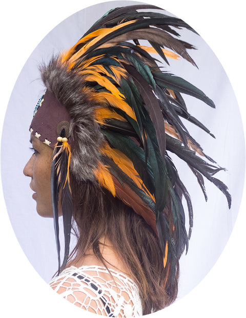 Native American Inspired Headdress - Orange with Beads