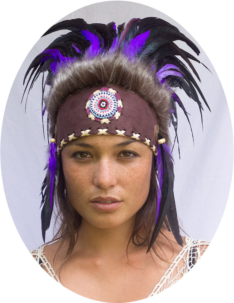 Native American Inspired Headdress - Purple with Beads