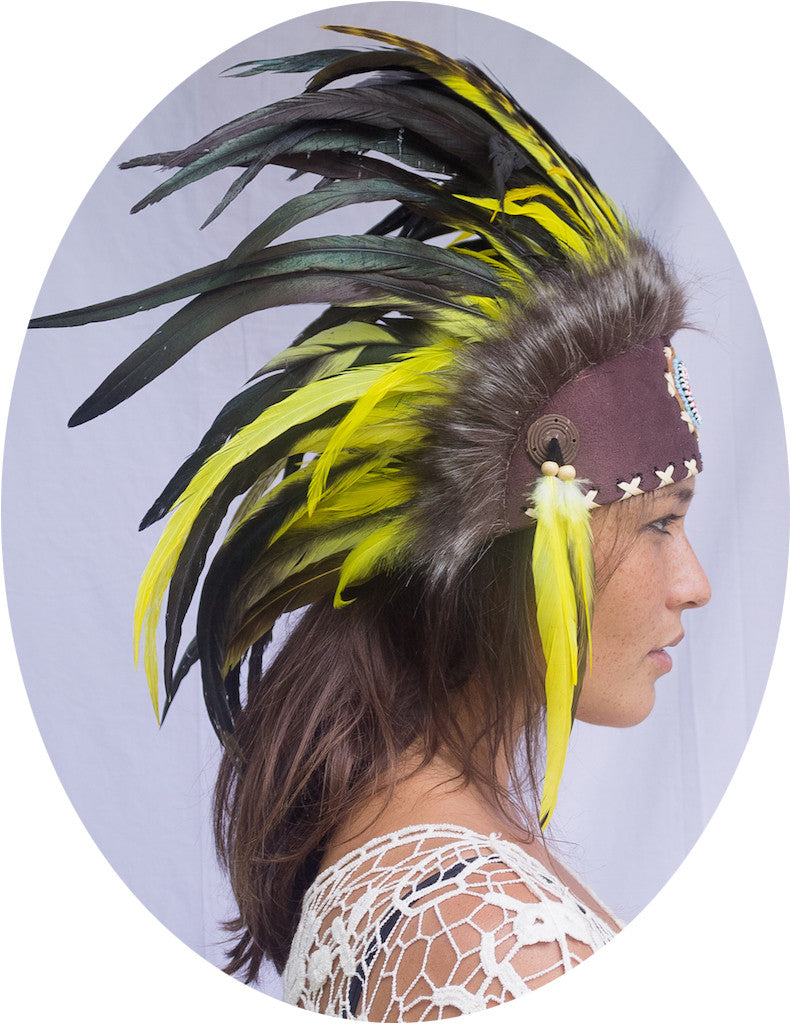 Native American Inspired Headdress - Yellow with Beads