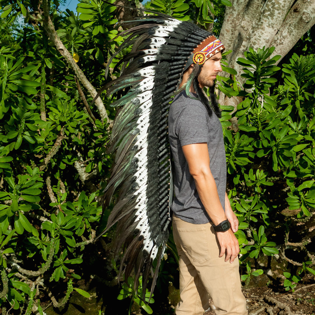 Extra Long DOUBLE FEATHER Indian Headdress Replica with Black & White Feathers