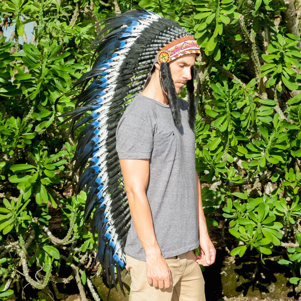 Extra Long Double Feather Blue Indian Style Feather Headdress