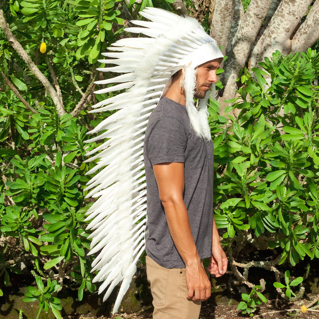 Extra Long Indian Inspired Headdress with All White Duck Feathers