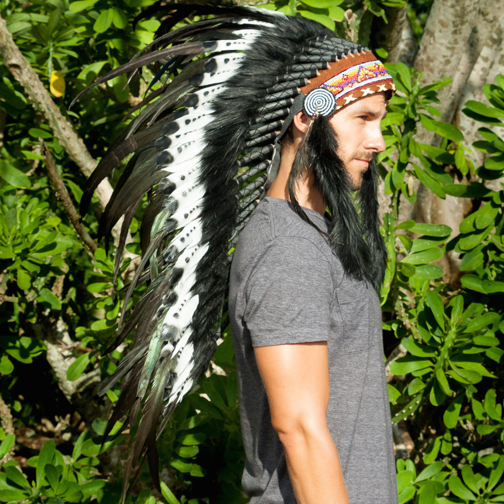 long double feather headdress in black & white