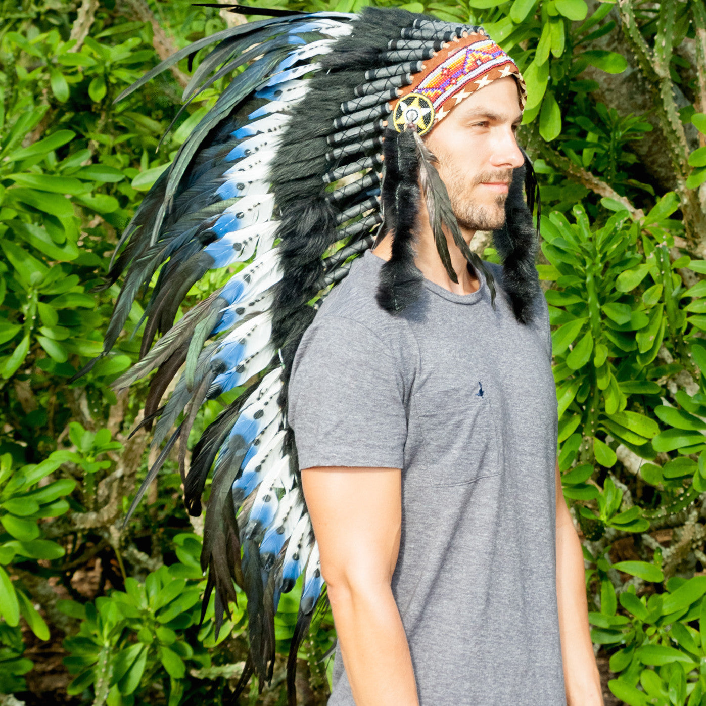 Native American Indian Style ADJUSTABLE Feather Headdress Green-Black Rooster