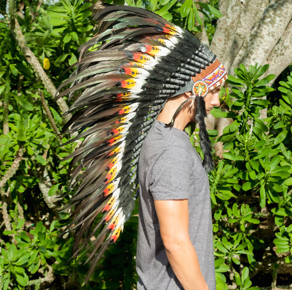 long multicolor headdress with double feathers