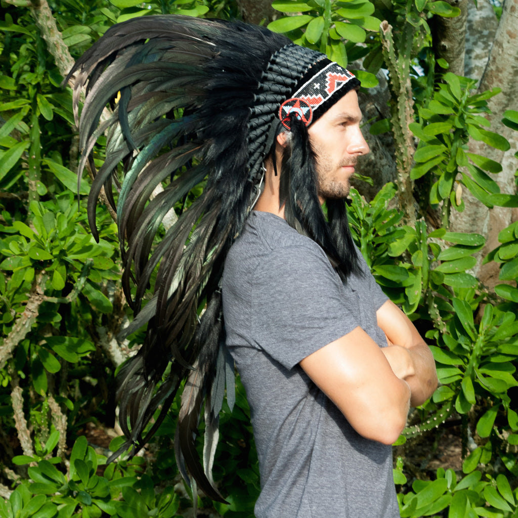 pure black feather headdress made in bali and available for sale online in USA