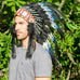 blue headdress with double feathers
