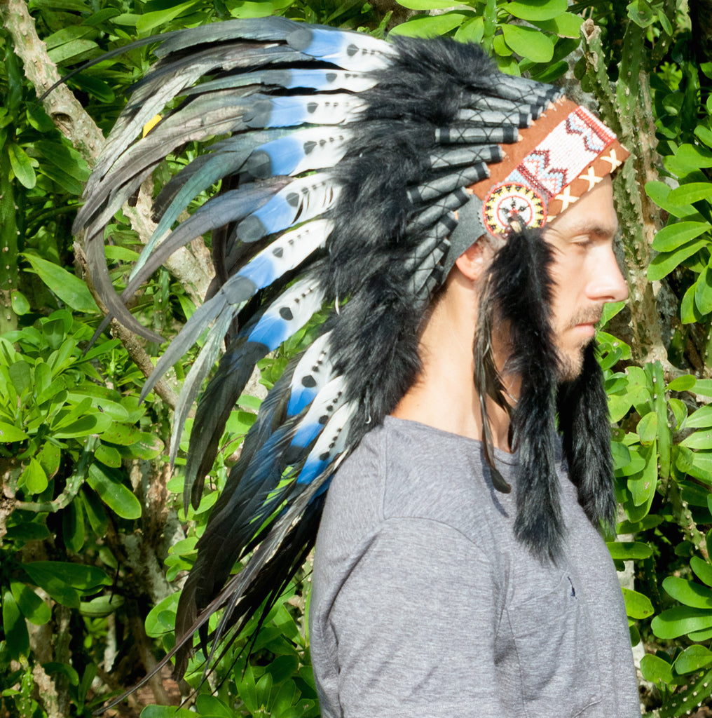 blue headdress