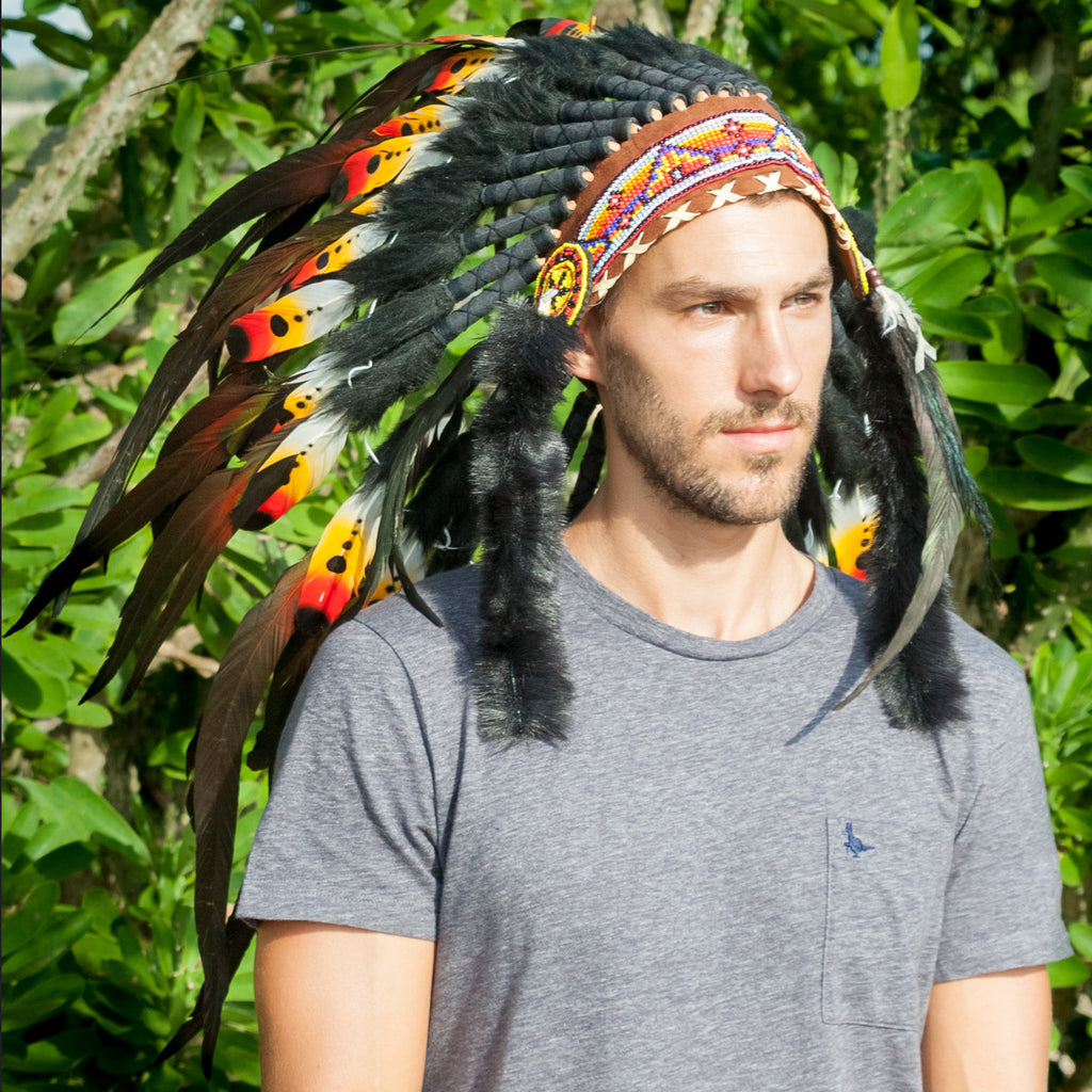Native American Headdress Replica - DOUBLE FEATHER Multicolor