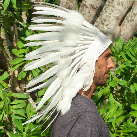 short length all white duck feather headdress