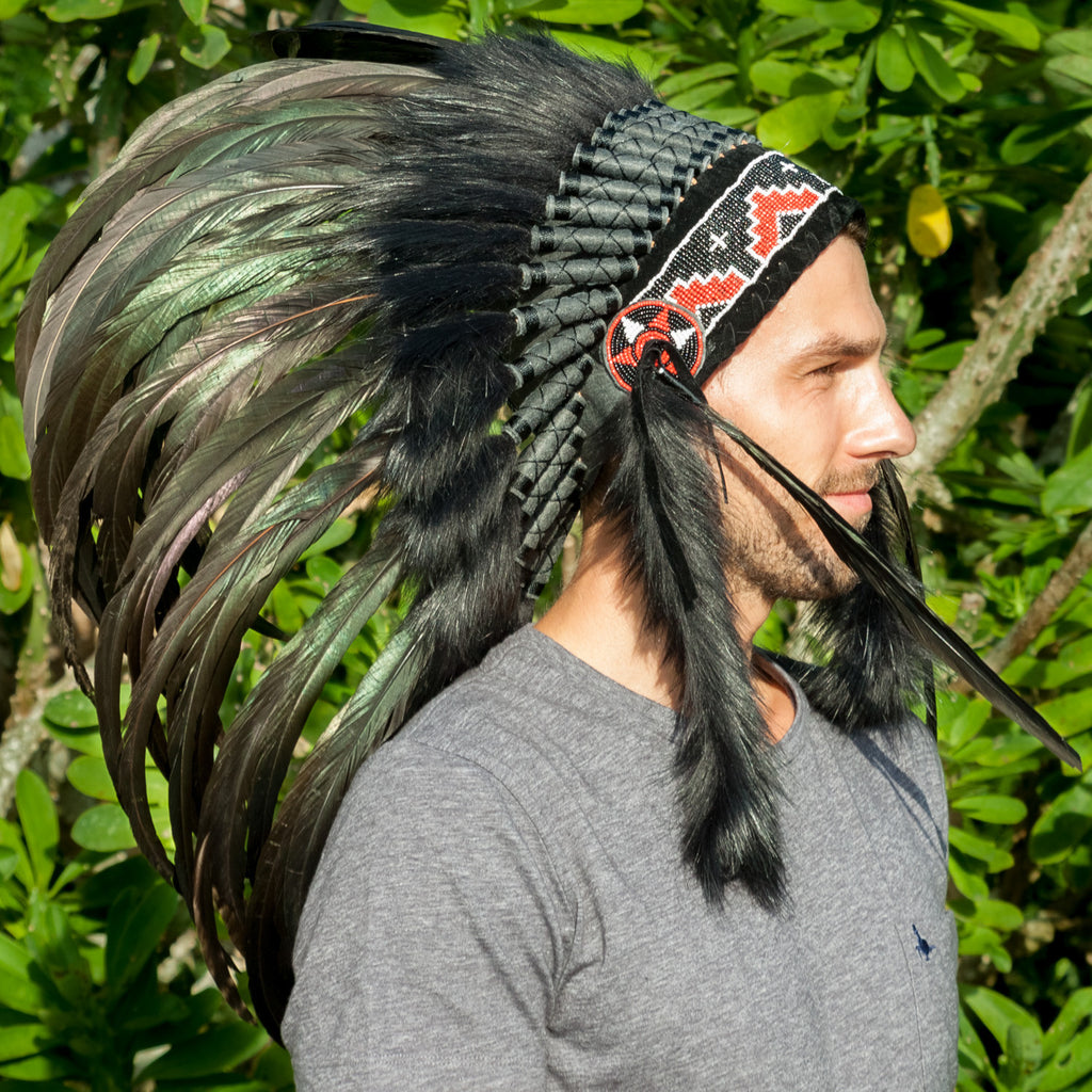 Short black native american headdress for sale onine