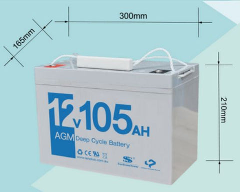 12V 105AH AGM Deep Cycle Rechargeable Battery