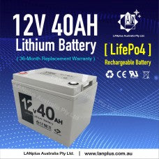 LANplus 12V 40AH Lithium Battery Lifepo4 Rechargeable li-ion 4 Golf Buggy Cart Caravan