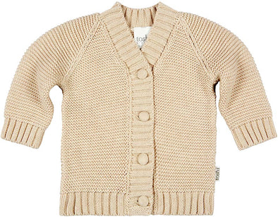 Organic Cardigan Andy Oatmeal by Toshi