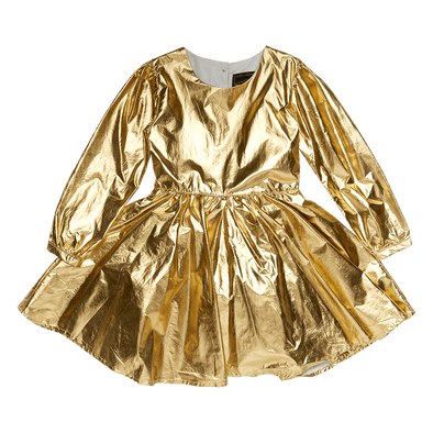 METALLIC GOLD - LS MAD MEN DRESS, GOLD