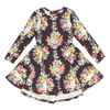 MIDNIGHT CHINTZ - LS Waisted Dress, FLORAL