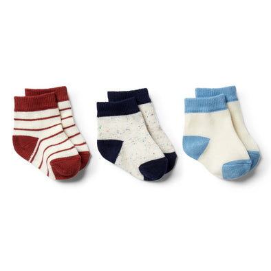 Faded Denim, Chilli, Twilight Blue-3 Pack Baby Socks