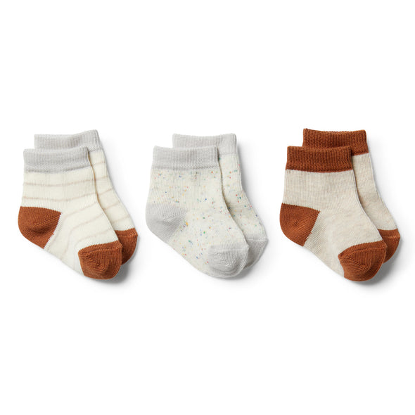 Cloud Grey Melange, Oatmeal, Toasted Pecan-3 Pack Baby Socks by Wilson & Frenchy