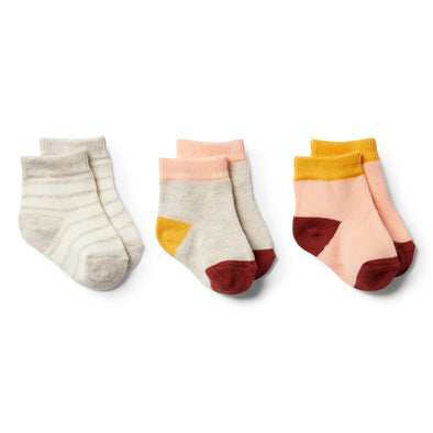 Peachy, Chilli, Golden Apricot-3 Pack Baby Socks