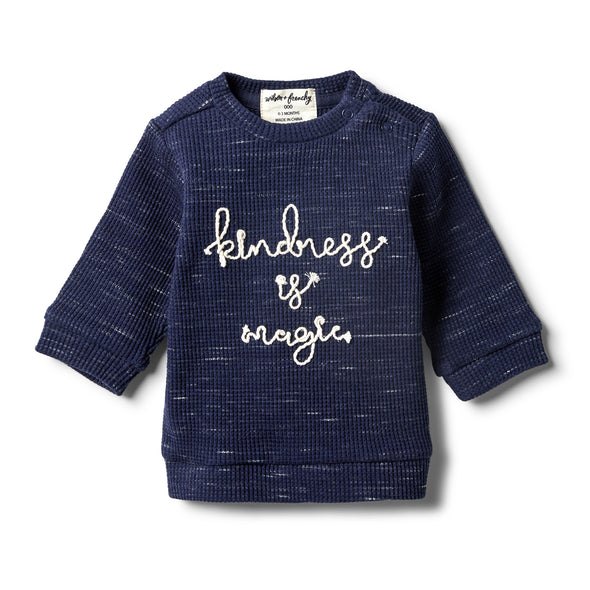 Twilight Blue Waffle Slouch Sweat by Wilson & Frenchy