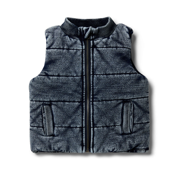 Twilight Blue Denim Look Quilted Vest by Wilson & Frenchy