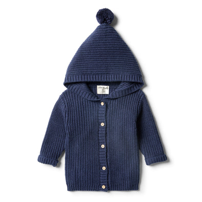 Twilight Blue Rib Knitted Jacket by Wilson & Frenchy
