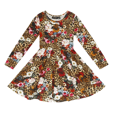 Leopard Floral Waisted Dress by Rock Your Kid