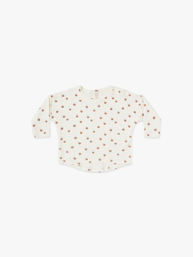 Long Sleeve Baby Tee by Quincy Mae - Ivory/Peach